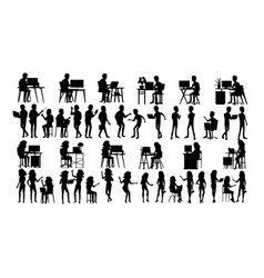 business people silhouette set male vector image