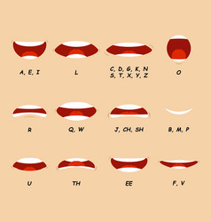 cartoon articulation set mouth speak expression vector image