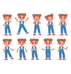 Cartoon cute little girl face emotions vector