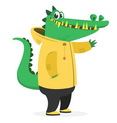 Cartoon funny and happy crocodile in a yellow vector