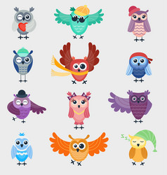 Cartoon owl night fly bird cartoon cute style vector