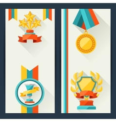 Certificate templates with trophies and awards vector