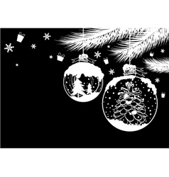 Christmas ball design on black background vector image