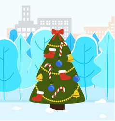 Christmas tree decorated with bows and garlands vector