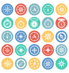 Compass icons set on color circles background for vector