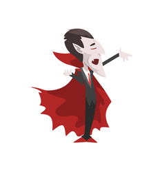 Count dracula vampire cartoon character wearing vector