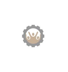 creative three people gear logo design vector image
