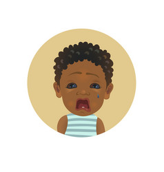 cute afro american crying child facial expression vector image