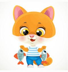 cute cartoon orange baby cat with caught fish vector image
