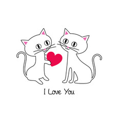 Cute kittens valentine vector
