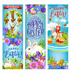 easter cross with eggs bunnies chick and flowers vector image