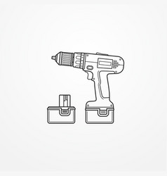 Electric cordless drill with battery outline vector