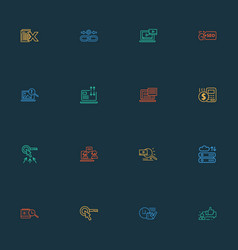 engine icons line style set with seo tag seo vector image