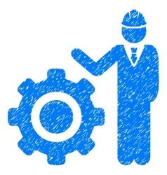 Engineer With Gear Grainy Texture Icon vector