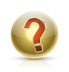faq golden ball sign question icon vector image