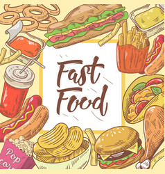 fast food hand drawn background with burger vector image