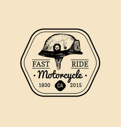 Fast ride biker store logo motorcycle club sign vector