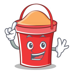 finger bucket character cartoon style vector image
