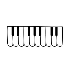 flat piano keyboard silhouette icon vector image