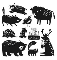 Forest american animals silhouettes vector