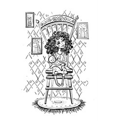 Girl with a bear on chair vector