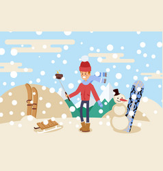 guy take selfie on snowy top mountain people vector image