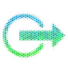Halftone blue-green logout icon vector