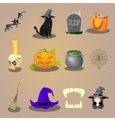 halloween accessories and characters icons set vector image