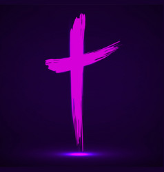Hand drawn cross grunge cross glowing christian vector