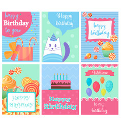 happy birthday collection set invitation cards vector image