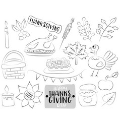 happy thanksgiving day cartoon icons and objects vector image