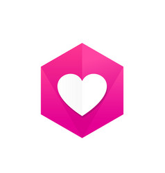 heart icon badge vector image