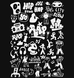Hip - hop rap doodles vector