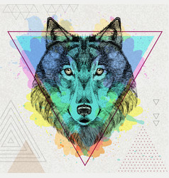 Hipster animal wolf on artistic polygon vector