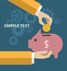 Human Hand and Moneybox Piggy in flat design style vector