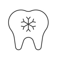Hypersensitive teeth simple outline icon dental vector