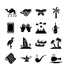 Icons pack of old traditional heritage in arab gu vector