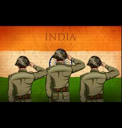 Indian army soilder saluting falg india vector