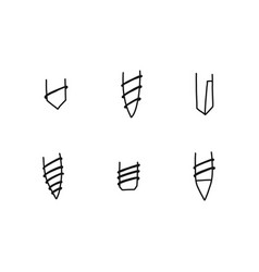 Informative sheet varieties sharp part screws vector