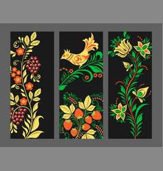 khokhloma pattern cards design traditional vector image