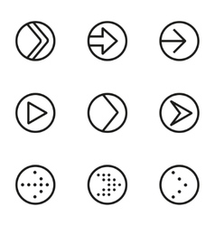 Line arrow circle icons set vector