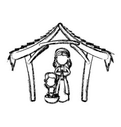 manger virgin mary and baby jesus in hut image vector image