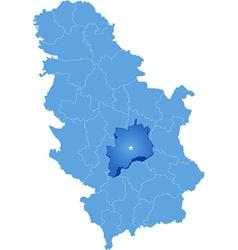Map of Serbia Subdivision Rasina District vector