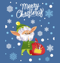 merry christmas greeting card elf with sack vector image