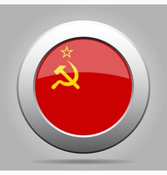 metal button with flag of Soviet Union vector image