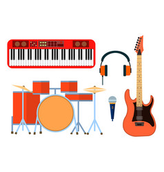 musical instruments icons for musical group vector image