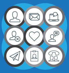 network icons set with inbox block notification vector image