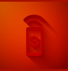 Paper cut contactless payment icon isolated on red vector