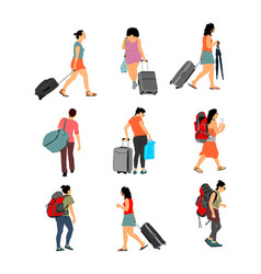 passenger woman with luggage travel girl set vector image