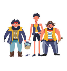 pirates people with man holding bucket with fish vector image